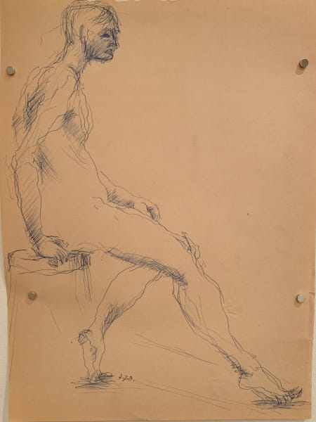 Male Nude In Ink on Stool