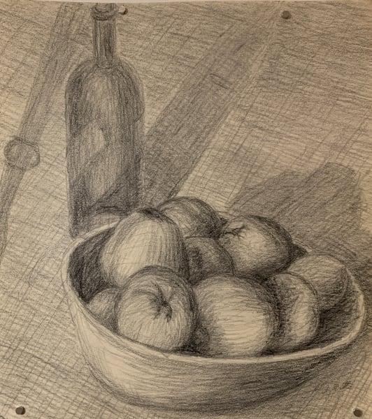 Crosshatch Drawing Still of Apples