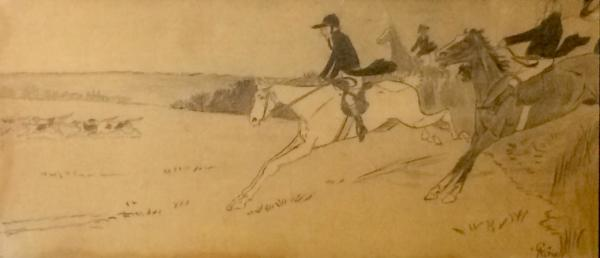 Pencil drawing of a hunting scene