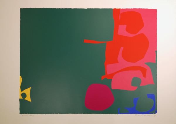 Interlocking Scarlet and Pink in Deep Green by Patrick Heron