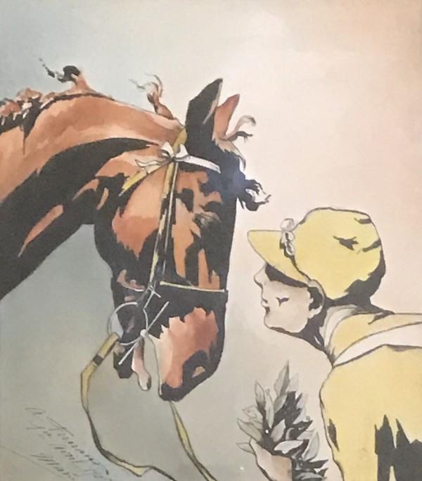 Yellow Jockey & Horse by 20th Century European