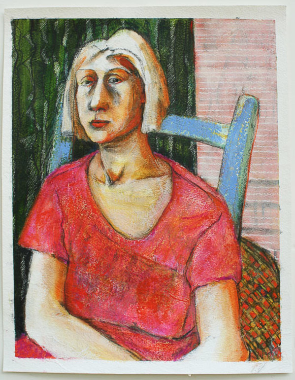 Woman in Blue Chair by Eve Whitaker
