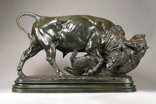 Un taureau et un ours (Bull and Bear) by Isidore Jules Bonheur