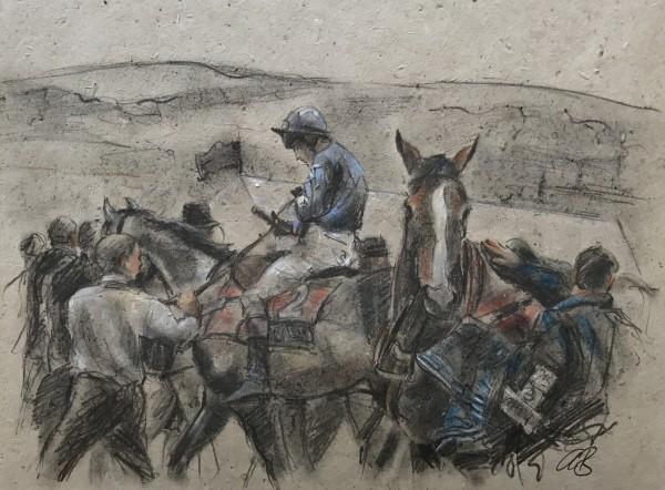 Two Horse, Jockey Up by Alan Brassington