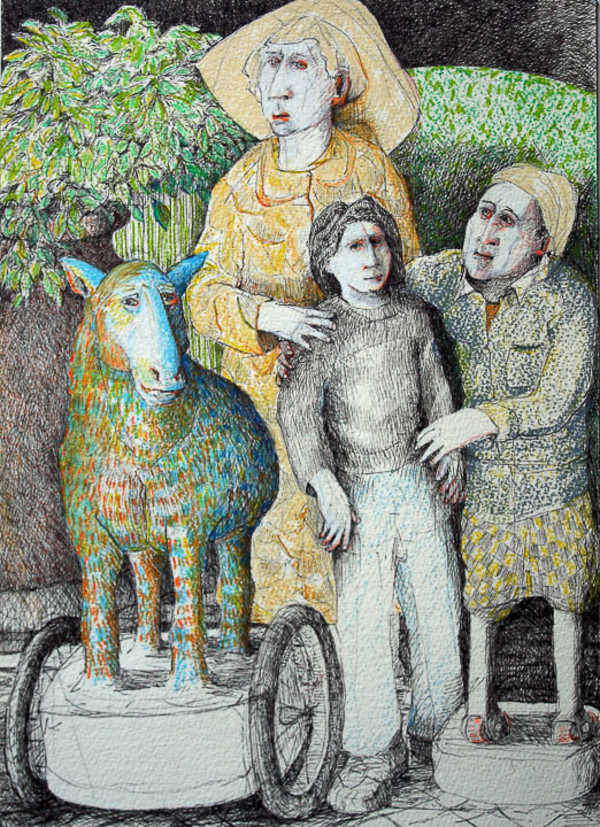 Lamb Cart and Man on Wheels by Eve Whitaker