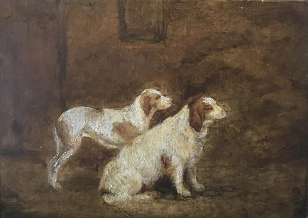 Portrait of Racket II (Clumber Spaniel) and Nell (English Pointer) by 19th Century European