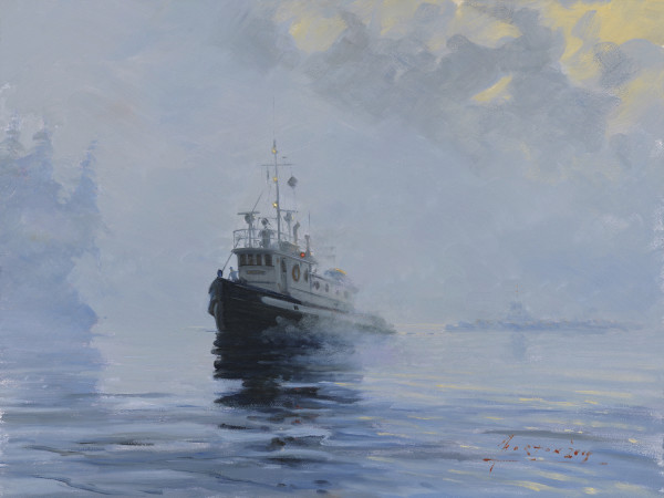 Towing out of the Fog by John Horton (C.S.M.A, F.C.A)