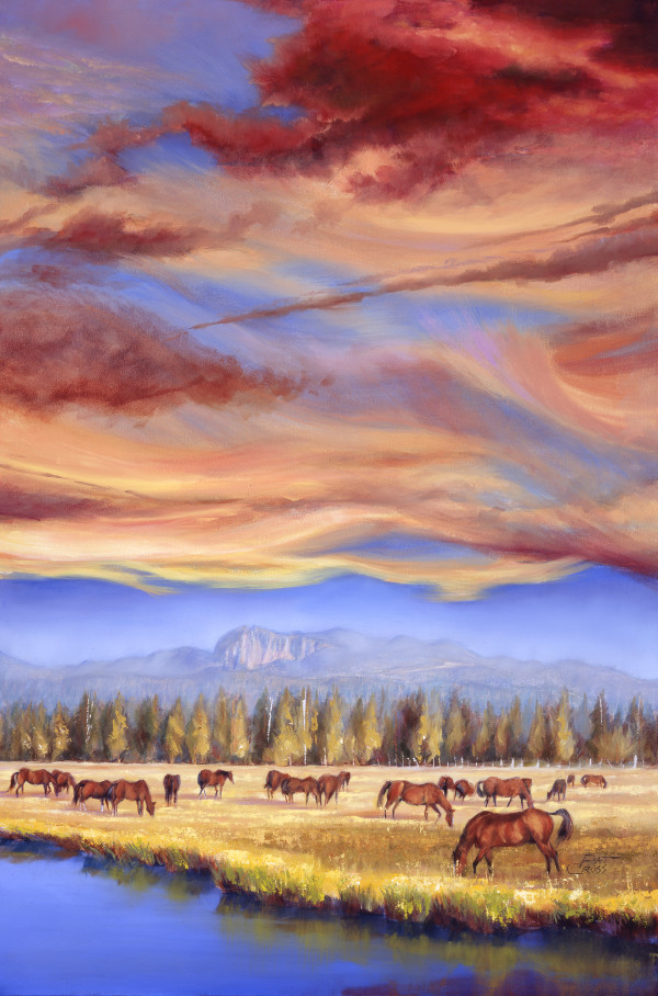 Grazing Sunriver Meadow by Pat Cross