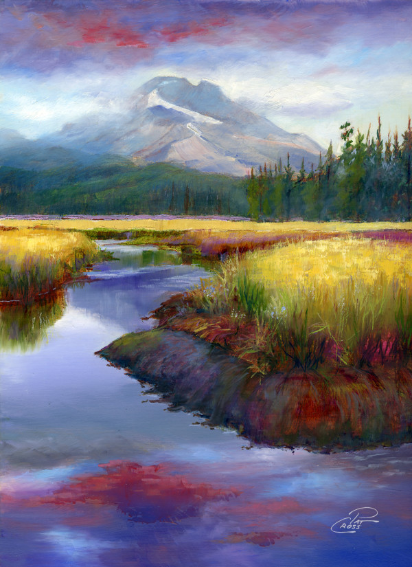 South Sister Over the Meadow by Pat Cross