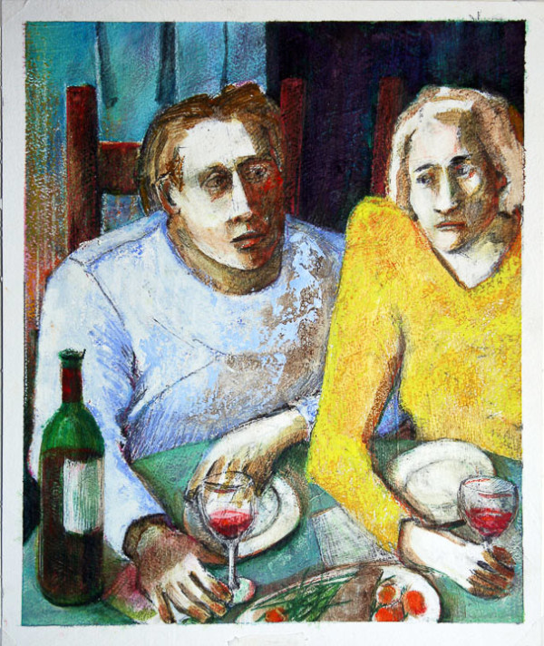 Man and Woman at Table by Eve Whitaker