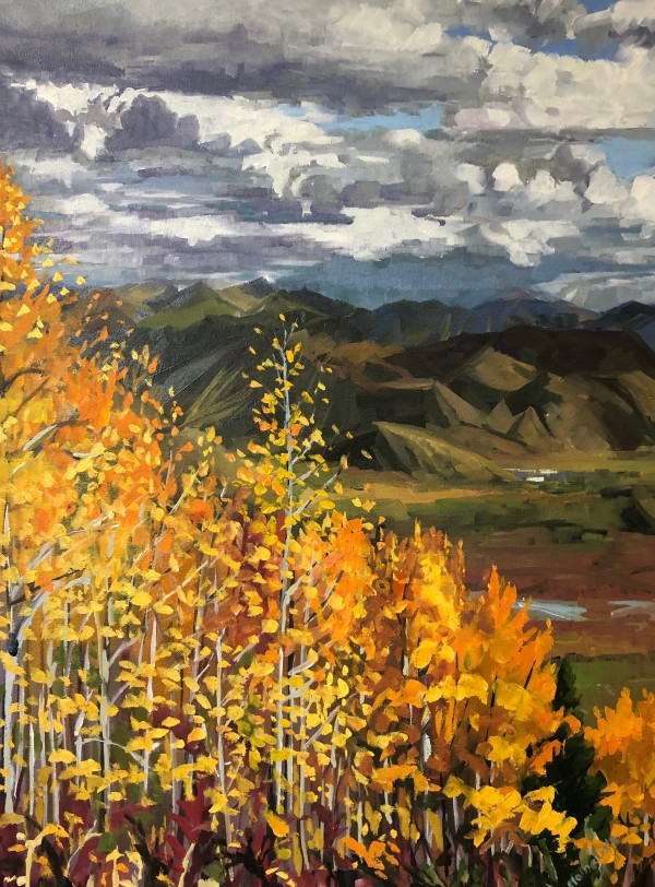 Orange Aspens Tetons by Elaine Lisle