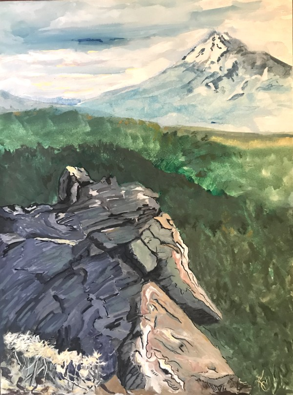 3-594-  Stone  to Mountain- View South from Babbitt Rock; east of Pilot Rock/Cascade-Siskiyou Monument;  Hallie Ford Gallery UVAA by Katy Cauker