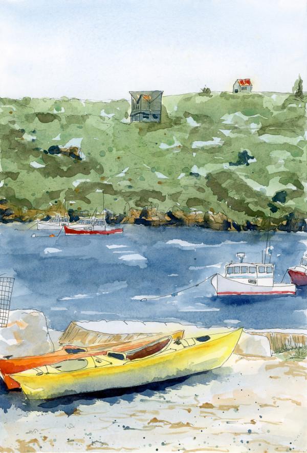 Boats at Monhegan Island by Jacque Thompson