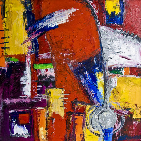 Abstract Painting Series: Still Life - (Clear and Present Danger) by Alexandra Jordankova