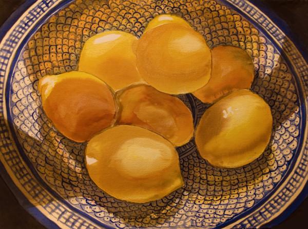 Still Life with Lemons on a Blue Plate by Alexandra Jordankova