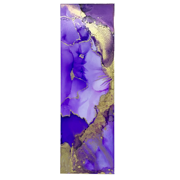 Alcohol Ink Bookmark - Purple, Gold #8 by Susi Schuele