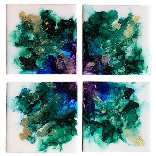 """Tile Coasters  - 4"""" Square - Resin Finish #4 by Susi Schuele"""