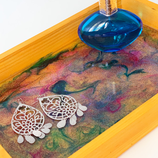 Gold Rectangle Wooden Tray with Resin and Ink Inlay by Susi Schuele