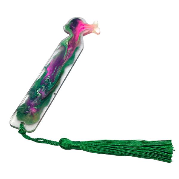 Resin Bookmark - Neon Fish - Fuschia Tassel #17 by Susi Schuele
