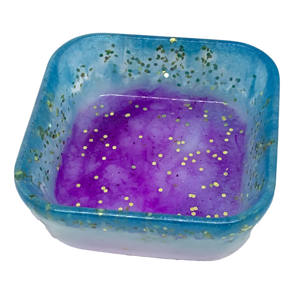 Resin Container - Square Blue Gold Purple Trinket Dish #8 by Susi Schuele