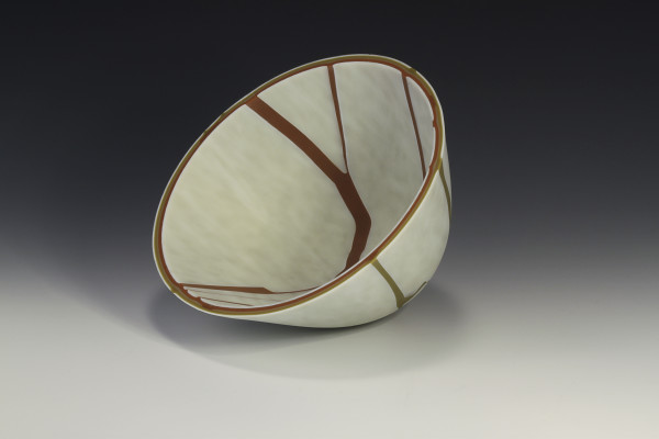 Kintsugi Bowl-Burnt Orange and golden green by Siobhan Hughes