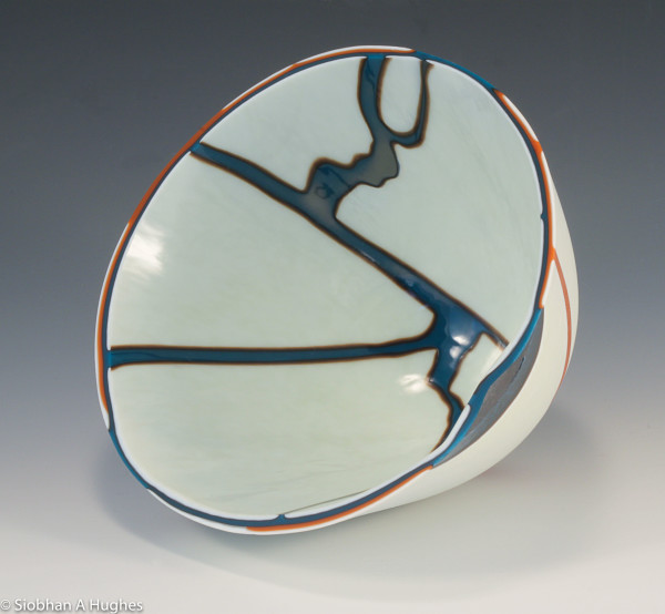 Kintsugi Bowl-Burnt Orange and Silver Blue by Siobhan Hughes