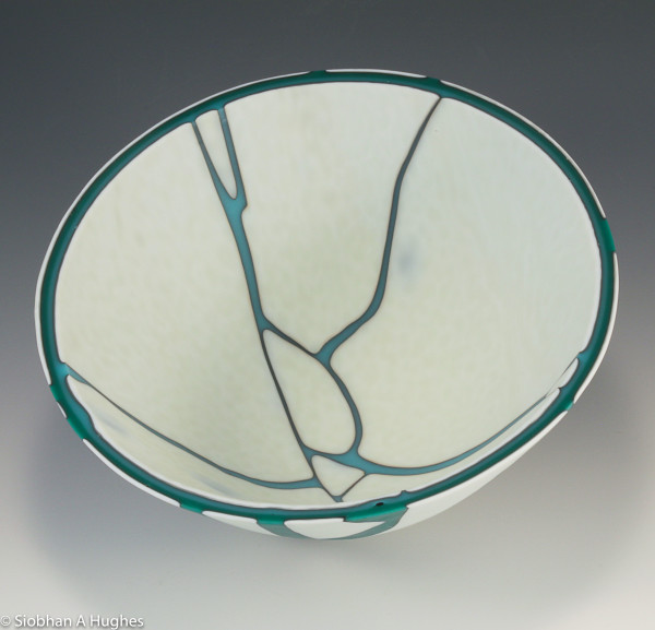 Kintsugi Bowl-Jade and Turquoise by Siobhan Hughes
