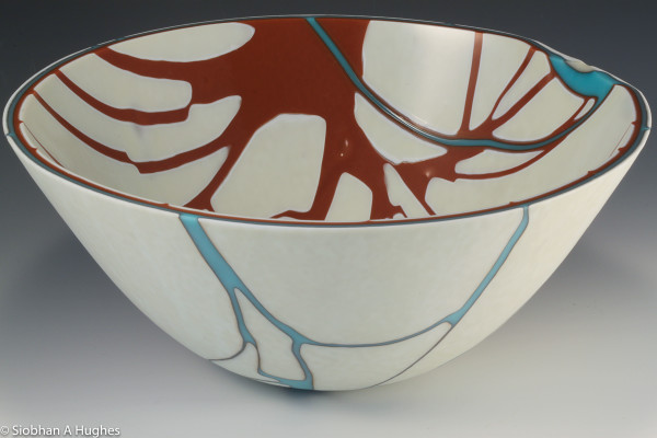 Kintsugi Bowl-Burnt Orange and Turquoise by Siobhan Hughes