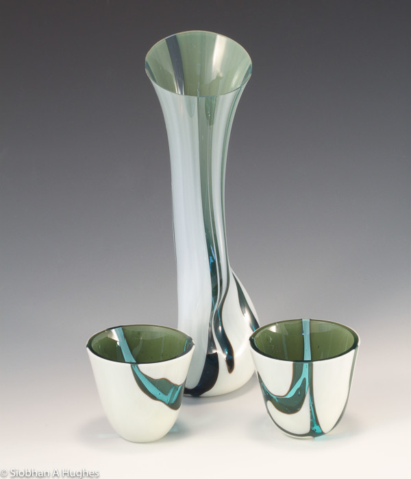 Kintsugi Sake Set in Cream and Turquoise by Siobhan Hughes