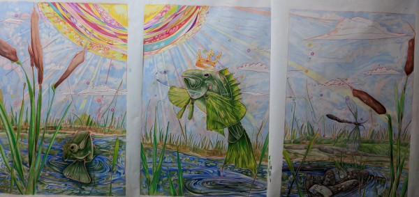 Cattails and fishtales - 1st Triptyke by David Heatwole