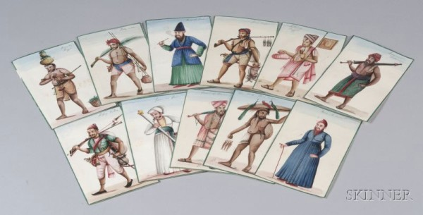 Indian Company School, Eleven Miniature Paintings, 19thC.