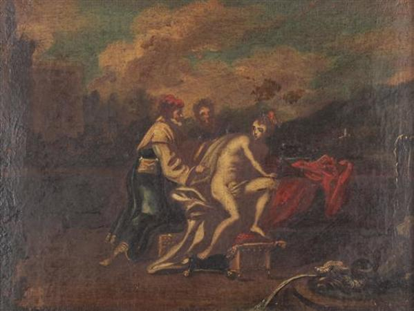 French School, Susanna and the Elders, Oil on Canvas, late 17th/early 18thC