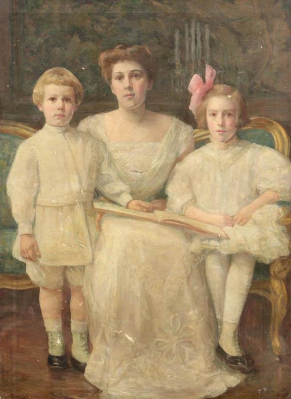 Portrait of a Lady with her Children by Albert Fauley