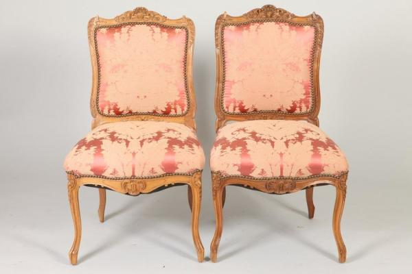 French Louis XV-style Carved Fruitwood and Upholstered Sidechairs, Set of 4, 19thC
