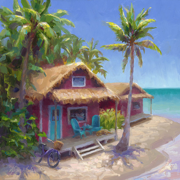 Pink Hawaiian Beach Shack by Karen Whitworth