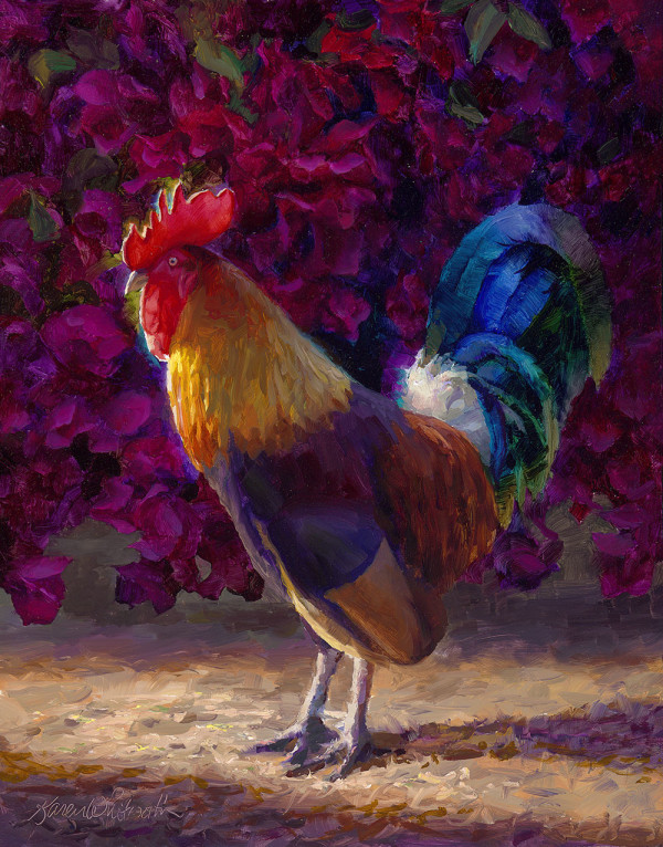 Rooster and Bougainvillea by Karen Whitworth