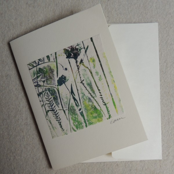 Botanical collagraph  card by Elizabeth Ann McNally