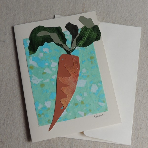 Carrot on Blue card by Elizabeth Ann McNally