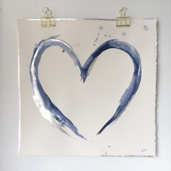 Blue and Silver Heart 2 by Dana Mooney