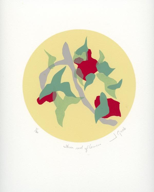 Three Red Flowers by J. Gnob by Joe Borg