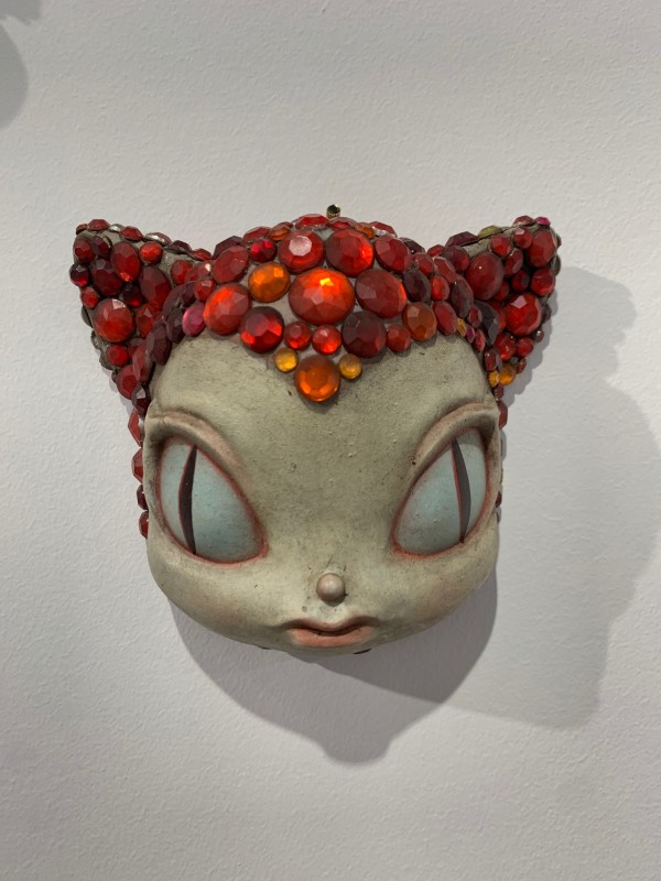 Miss Kitty Encrusted Scarlet Wall mask by Kathie Olivas & Brandt Peters