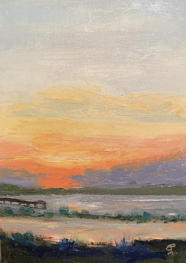 Sunset over Marsh by Phyllis Sharpe