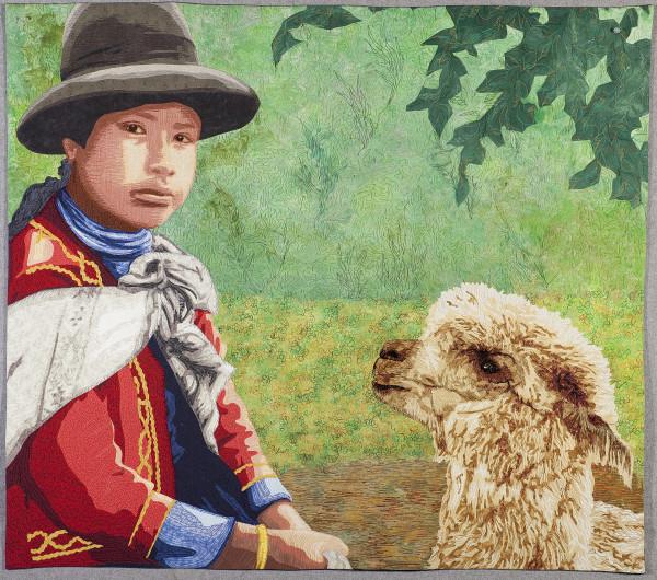 Peruvian Girl with Llama by Lea McComas