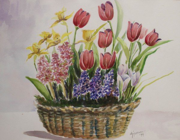 Basket of Tulips by Donna  Perron