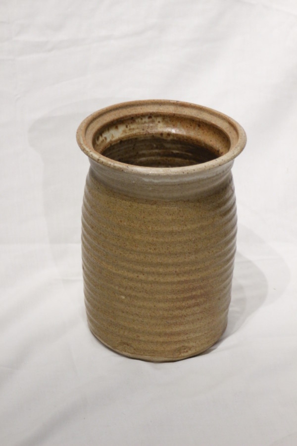 Brown Ridged Vase by unknown unknown