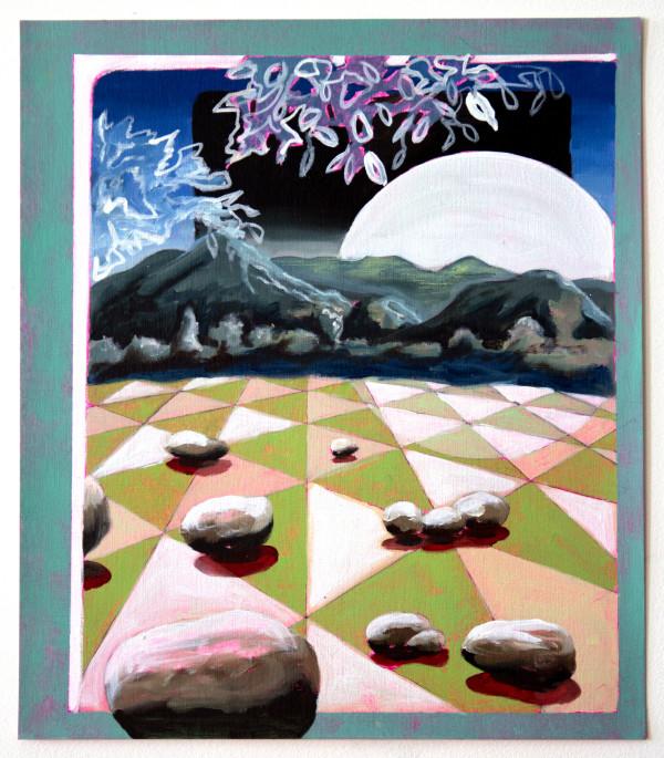 Moon over Green Tiles by Mathew Tucker