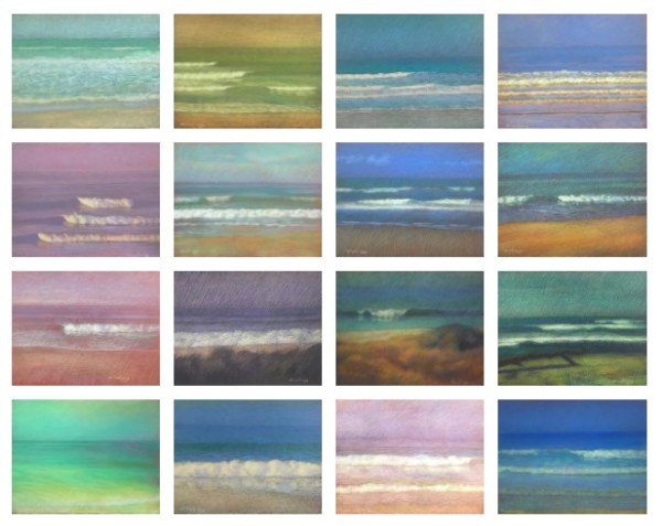 The Wave Series, 16 Pastel Drawings as a Set by Michael Newberry