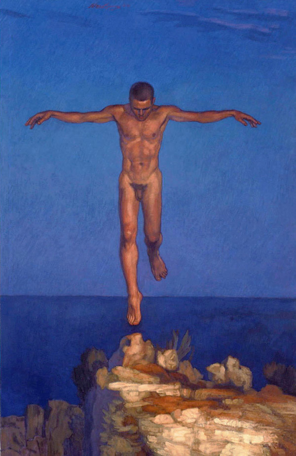 """Newberry, Icarus Landing (Giclee), ink on Rives BFK paper, 30x20"""", 19/100 by Michael Newberry"""