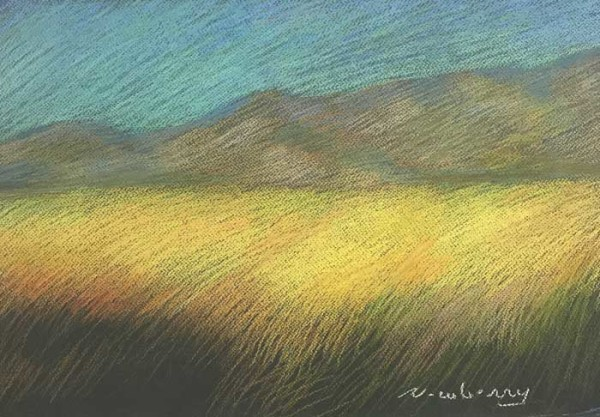 Newberry, Borrego Yellow Field, pastel by Michael Newberry