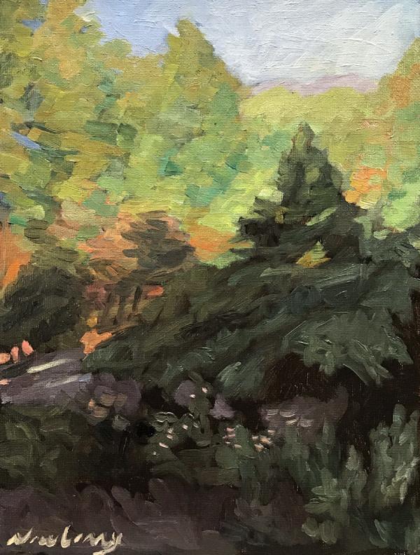 """Newberry, Idyllwild Backyard, 2020, oil on panel, 12x9"""" by Michael Newberry"""
